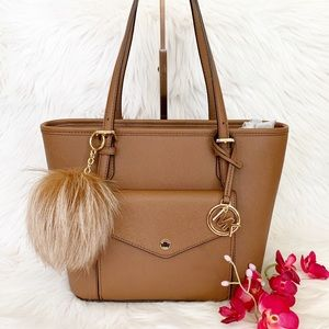 Michael Kors Jet Set Tote W/ Fur PomPoms